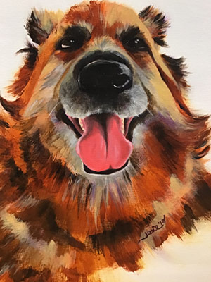 Painting a dog done in acrylic paints by Janie Matthews Read