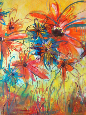 Janie Matthews Read's painting of brightly coloured poppies