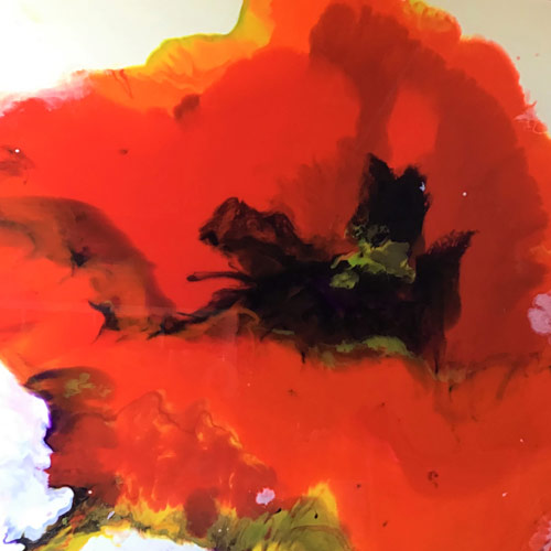 Large resin painting of a bright red poppy by Devon Artist Janie Matthews Read