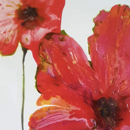 Resin abstract painting called 'Posing Poppies'