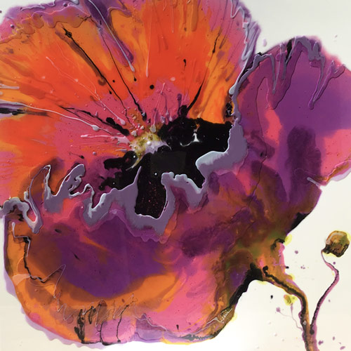 resin painting called 'Poppy Explosion' by Totnes Artist Janie Matthews Read