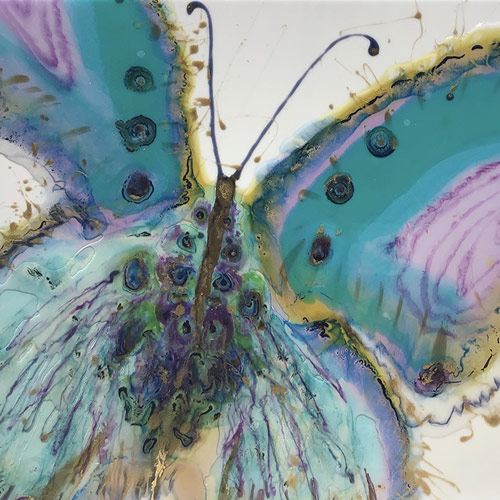 Resin abstract painting of a butterfly