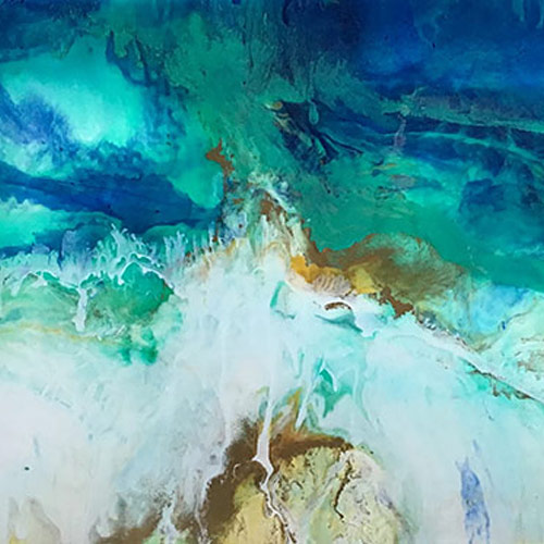 Resin abstract painting of the sea shore in Devon
