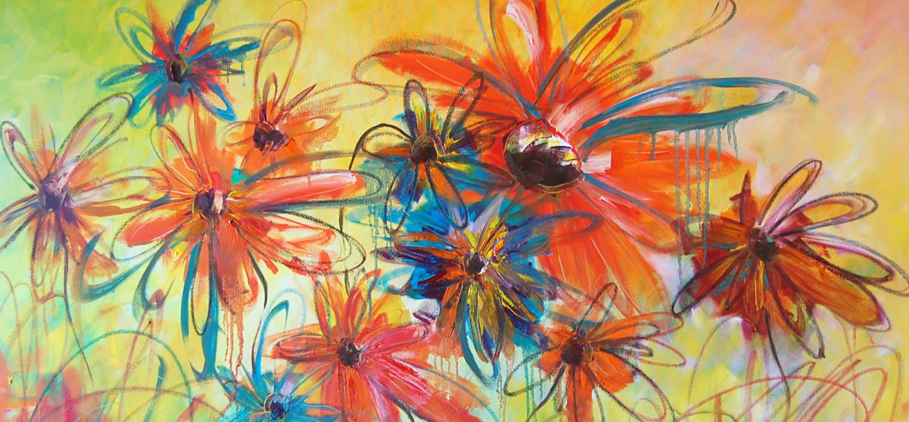 Large abstract painting of flowers by Totnes Artist Janie Matthews Read
