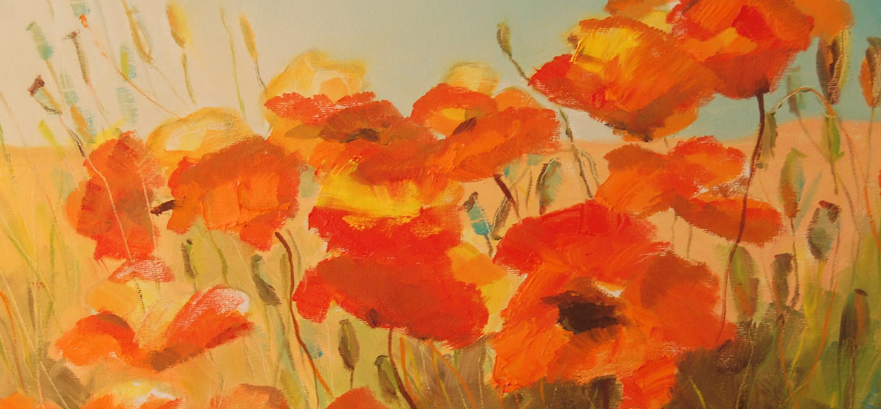 Detail from one of Janie Matthews Read's paintings of poppies