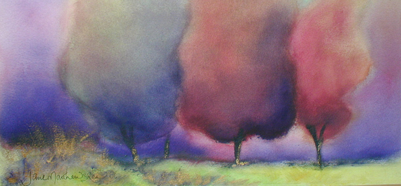 Detail from one of Janie Matthews Read's paintings of trees