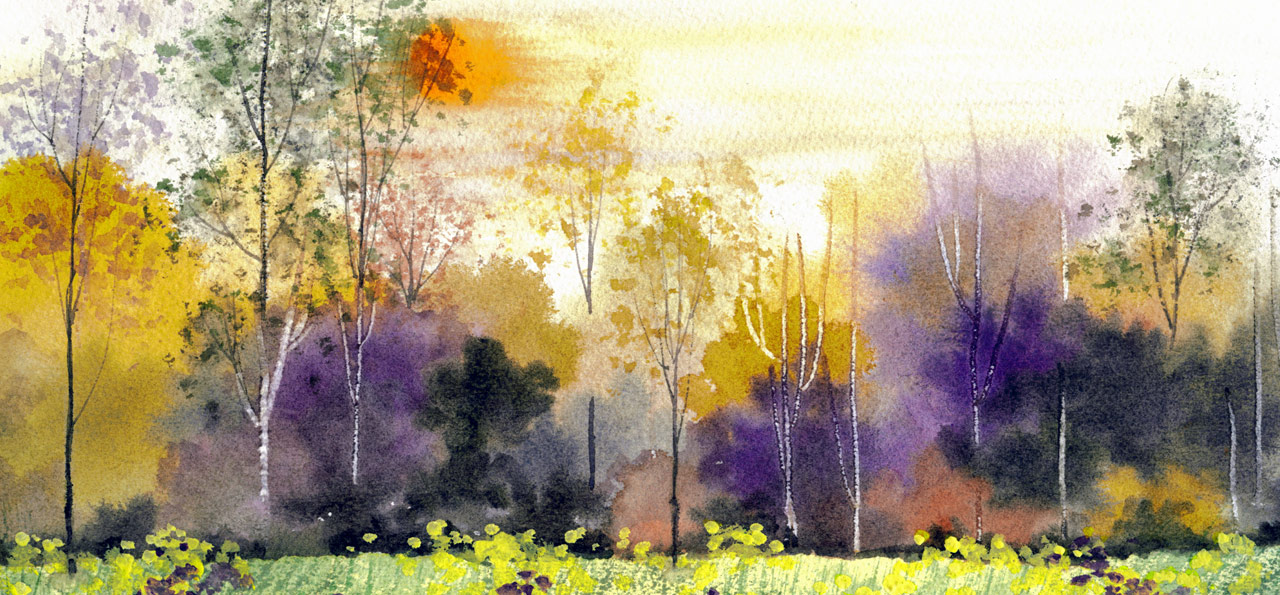 Watercolour landscape of the Canadian wilderness by Janie Matthews Read